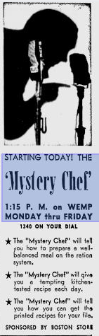 Ad for The Mystery Chef Radio Progam from the 1930s