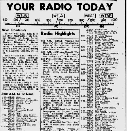 Radio Program Schedule from a 1930s Newspaper