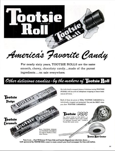 TootsieRollAdLifeMag1950s