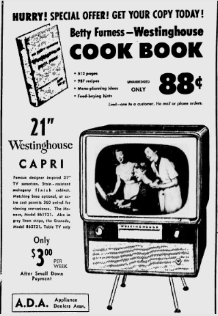 Betty Furness Westinghouse Cookbook Ad 1954