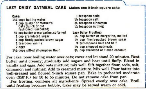 Lazy Daisy Oatmeal Cake