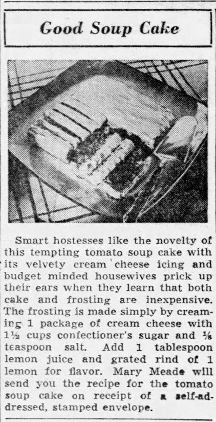 1939 Tomato Soup Cake