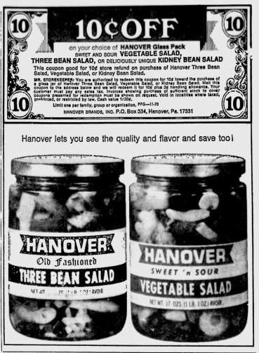 HanoverThreeBeanSalad1970