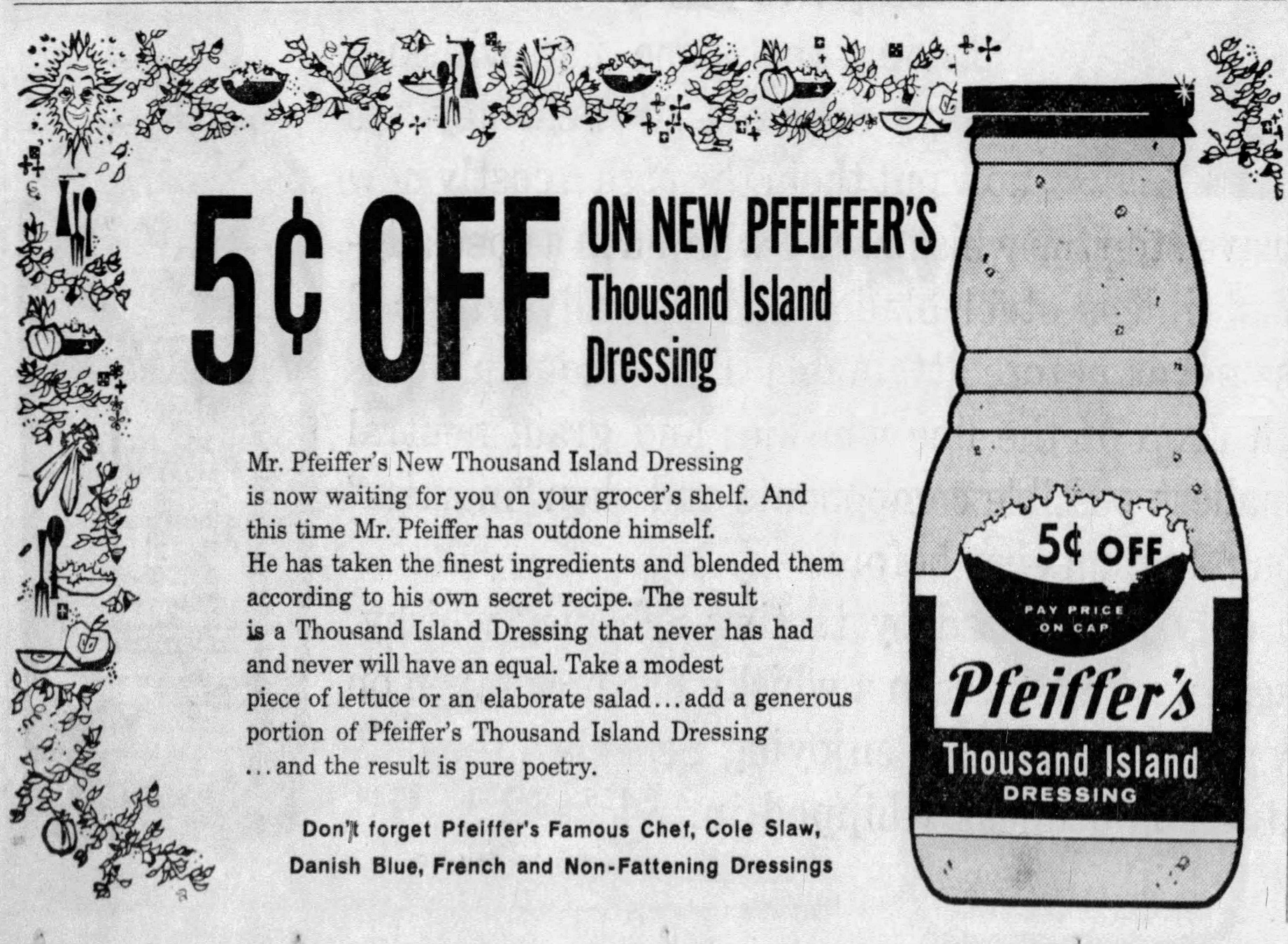 1961Pfeiffer'sThousandIslandDressingAd